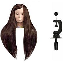 Maniquí de Cabeza para practicas de peluquería sin maquillaje con cabello pelo real 80% 60cm (con soporte)-CoastaCloud