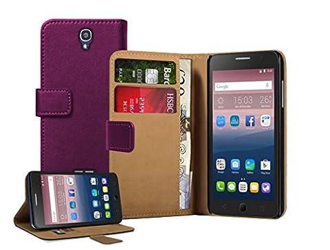 Membrane Coque Alcatel One Touch Pop Star 5022D Etui Violet Portefeuille Flip Wallet PU Cuir Case Cover Housse