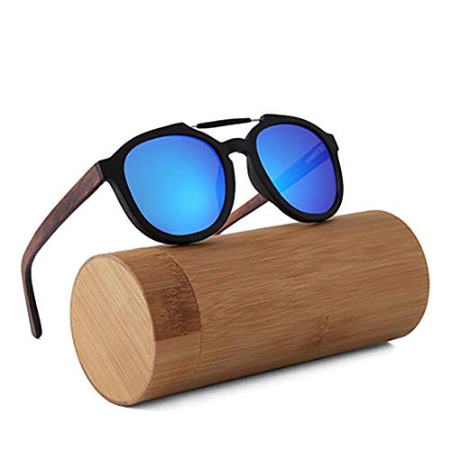 FYrainbow Sonnenbrille,Herren Polarisierte Walnussholz Holz Männer Frauen Sonnenbrillen UV400 Mode für das Reisen mit polarisierten Gläsern,A