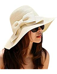 GODHL Bowknot playa visera plegable ancho ala paja sombrero gorra para damas Color Beige