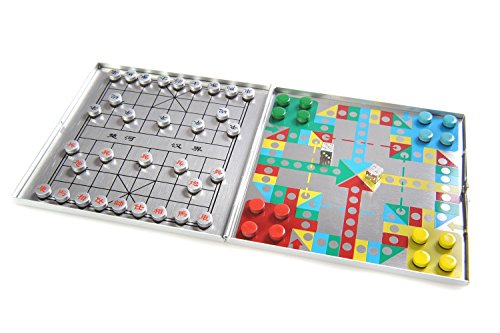 Azerus Alu Line: '4-in-1 game set A' - Xiangqi, 'Mensch-ärgere-dich-nicht' ('Do not get angry'), Halma / Chinese Checkers, Solitaire (Peg Solitaire or Sailor's Solitaire), with magnetic game pieces, playing board 10,5cm x 10cm x 0,6cm (XY042P4 DE)