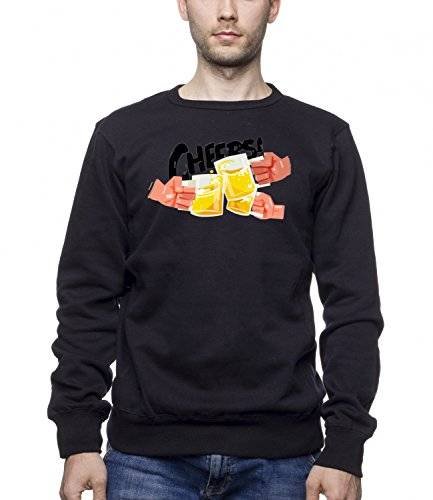 Three Monkeys Beer Cups Abstract Art Men's Unisex Sweatshirt Nero Medium
