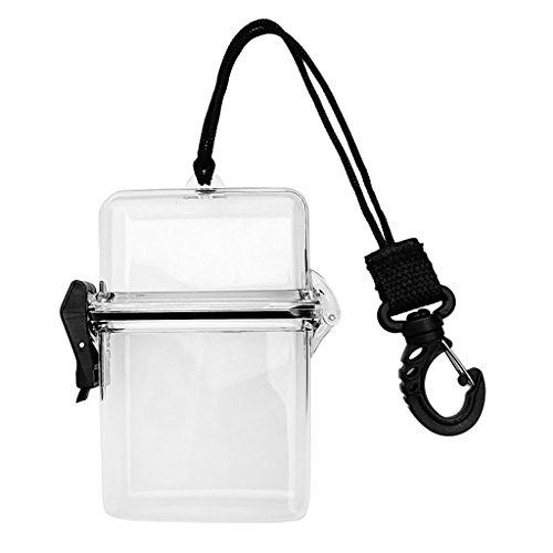 EUTUOPU Scuba Diving Kayaking Waterproof Dry Box Gear Accessories Container Case & Rope, Clip for Money, ID Cards, License, Keys (Clear) (Clip Card Case Id-money)