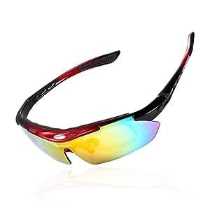 NOUVEUX Lunettes de Soleil / Lunettes de Sport / Lunettes de Vélo avec 5 verres incassables UV400 polarisé (rouge)