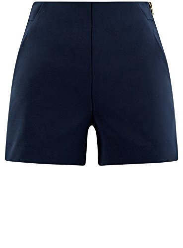 oodji Ultra Damen A-Linie-Shorts mit Seitlichem Reißverschluss Blau (7900N)