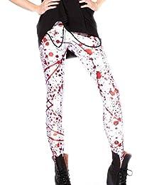 Avitalk-Pantalones Leggings para Mujer-Estilo Estampado con Diseño de Sangre Salpicada