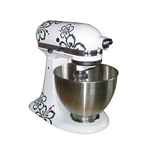 """Sticker/ Autocollant """"Hibiscus anthracite"""" pour robot de cuisine Kitchen Aid"""