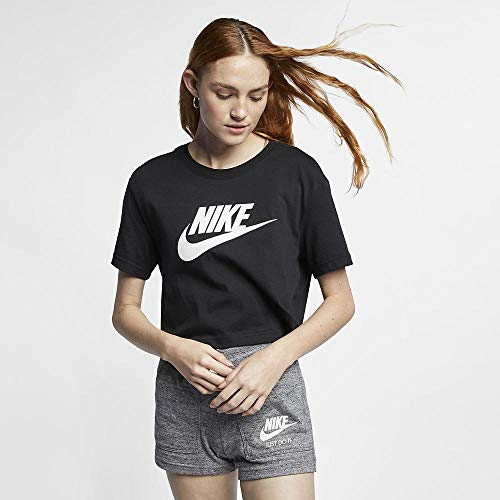 Nike Damen W NSW Tee ESSNTL CRP ICN FTRA T-Shirt, Black/White, M