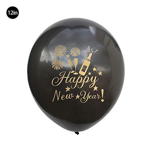 12-inch 100 Globos de Látex Aire y Helio– Surtido Negro, Dorado y Plateado Celebración de Año Navidad