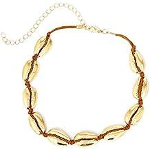 3ffeee915ff0 Tonpot - Collar de concha blanca con cordón negro estilo casual