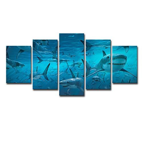 xiaoqing Wohnkultur Wohnzimmer Wandkunst 5 Stück blau Tiefseehai Gruppe