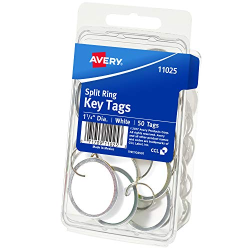 Avery White Metal Rim Key Tags 1.25