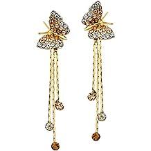 NEOGLORY Pendientes de Mariposa con Cristales Amarillo Hipoalergénico Joya Original Regalo Chica Mujer