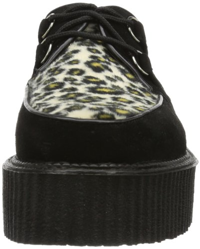 Demonia - Scarpe stringate CREEPER-400, Uomo Nero (Blk Suede-Cheetah Fur)