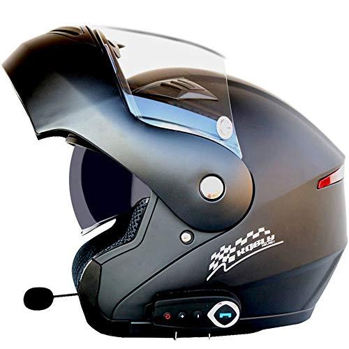 NAN® Motorradhelm Doppelobjektiv Beschlag Bluetooth Bluetooth Bluetooth Modularen Helm Motorradhelme, Stereoanlage, Clamshell-Visier, Antifog-Objektiv,XXL