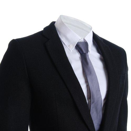 FLATSEVEN Homme Slim Casual Hiver Laine Blend Blazer Veste Black