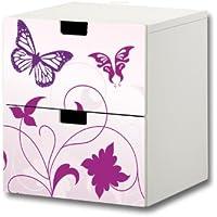 Preisvergleich für Stikkipix Butterfly Möbelsticker/Aufkleber - S2K04 - passend für die Kinderzimmer Kommode mit 2 Fächern/Schubladen STUVA von IKEA - Bestehend aus 2 passgenauen Möbelfolien (Möbel nicht inklusive)