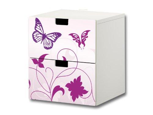 Stikkipix Butterfly Möbelsticker/Aufkleber - S2K04 - passend für die Kinderzimmer Kommode mit 2 Fächern/Schubladen STUVA von IKEA - Bestehend aus 2 passgenauen Möbelfolien (Möbel nicht inklusive) (Schrank Schublade Folien)
