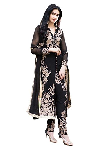 Suchi Womens Georgette Straight Dress Material (Sfira10765 _Black _Free Size)