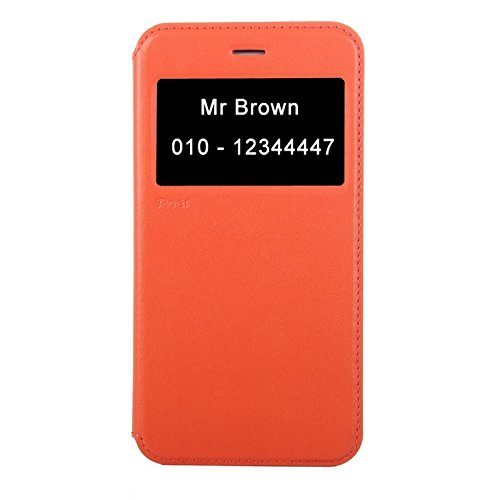 Phone case & Hülle Für iPhone 6 Plus / 6S Plus, Roar Crazy Pferd Textur Leder Tasche mit Halter & Card Slot & Anrufer ID Display ( Color : Gold ) Orange