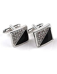 Hosaire 1 Pair Fashion Drop Oil Cufflinks Men's Women's Fashion Shirt Cufflinks Business Wedding Cufflinks Gift Present(Black)
