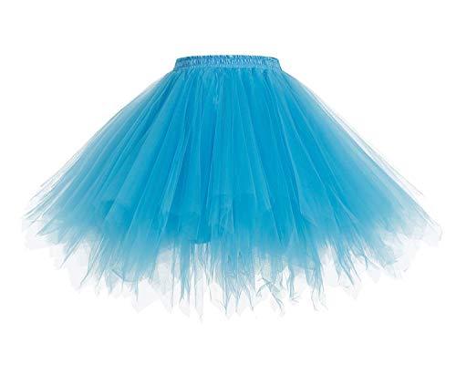 HomRain 1950 Petticoat Tutu Unterrock Underskirt für Rockabilly Kleid Blue L