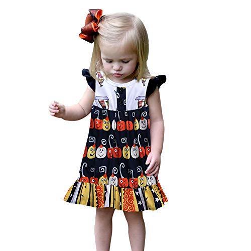 Cuteelf Halloween Kostüm Baby Mädchen Halloween Kleid Strandkleid Kostüm Kinder Halloween Kurzarm Print Prinzessin Kleid Halloween Kleid Cute Fashion Festival Atmosphäre (Minion Kleid Kind Kostüm)