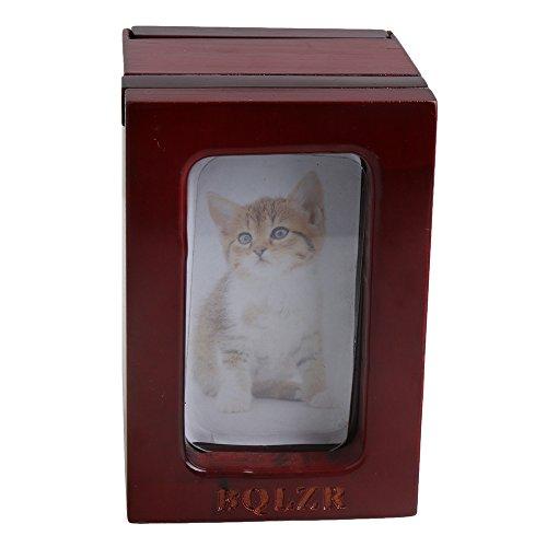 BQLZR 90x 85x 128de fotos telescópica de madera de cedro, color marrón rojo perro gato mascota urna para cenizas crematorias Memorial caja de recuerdos