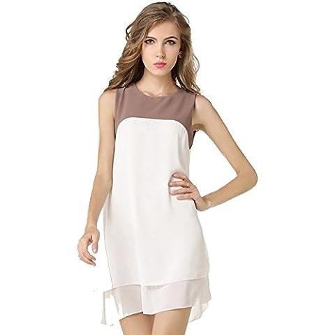 JXLOULAN vestidos de verano para mujer de costura Hechizo vestido sin mangas del color doble irregular de la gasa de la