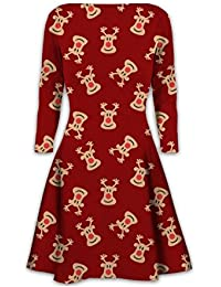 2dc8517ca9d Womens Christmas Swing Dress Girls Gift Candy Ladies Gingerbread Snowman  Smock Reindeer Skater Mini Dress Size