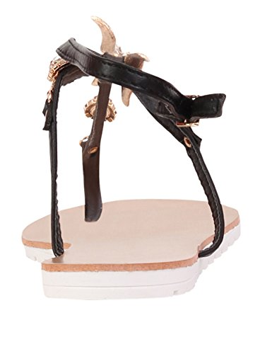 Gladiator Sandales plates pour femme Résille Fancy Papillon Chaussures de plage Noir - noir