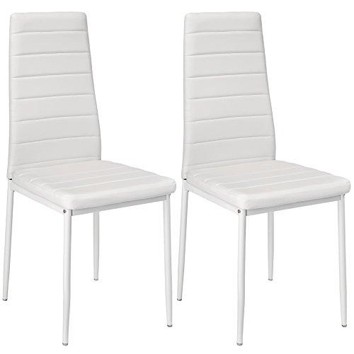 TecTake Lot de Chaise de Salle à Manger 41x45x98,5cm - diverses Couleurs et modèles au Choix - (2X Blanc | No. 401840)