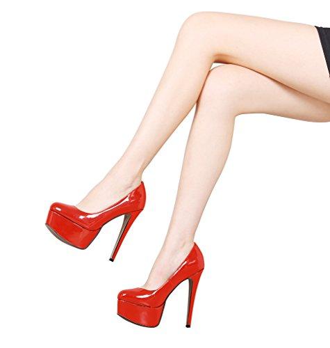Guoar High Heels Große Größe Abendschuhe Round Toe Lack Rutsch Pumps mit Plateau Club Party Hochzeit Orange