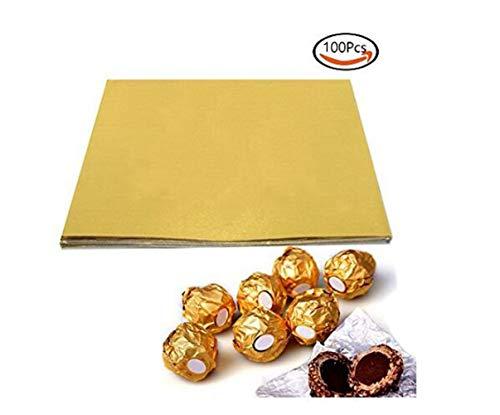 1 Beutel (100PCS) 4'' Gold Präge Aluminiumfolie Quadrat Süßigkeiten Candy Lolly Papier Schokolade Geschenke Wrapper Tee Pulver Verpackung Zucker Wraps