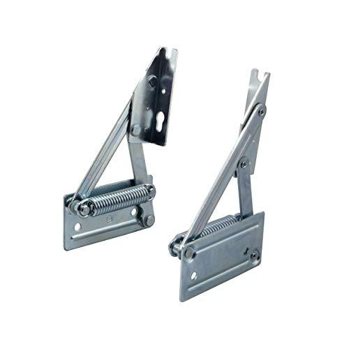 Gedotec Eckbankscharnier Klappkonsole Klappenträger für Sitzplatten aus Holz | Truhenbank-Beschlag mit Feder | Plattengewicht bis 12 kg | Stahl verzinkt | 1 Paar Truhen-Beschläge (Links + Rechts)