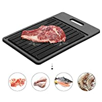 GEMITTO Defrosting Tray, Thawing Plate for Faster Defrosting Frozen Food, Defrost Plate with Hole for Easily Hanging, Quicker Safer Way to Defrost Meat Pork Beef Fish (34.5 x 24.5 x 3.5cm)