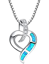 Sterling Silver Heart Flower W. Blue and Green Fire Opal Inlay and Purple Cubic Zirconia Pendant Necklace - SC091n4 DU68k4