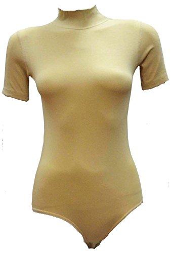 dames combinaisons moitié manches dames coton à col roulé justaucorps (2346) si (tan)