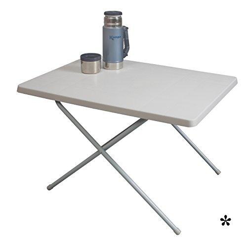 Klapptisch weiß aus widerstandsfähigem Kunststoff 80x60cm • Campingtisch Gartentisch Koffertisch...