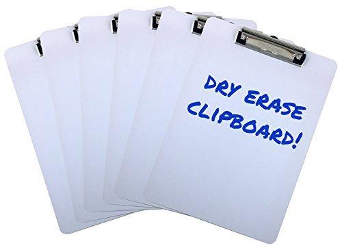 Klemmbrett Dry Erase Oberfläche 22,9x 31,8cm Buchstabe Größe Low Profile Clip Whiteboard (Pack von 6)