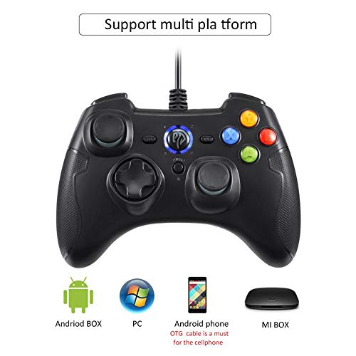 Jweal controller gamepad Controller giochi cablati, EasySMX ESM-9100 Gamepad cablato Joystick Dual Shock per Windows/Android / PS3 / TV Box