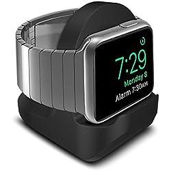 HUVE Non-Slip Night-Stand pour Apple Watch Noir - Station de Charge Mode Nightstand - avec Fente pour Dissimuler Votre câble de Chargement