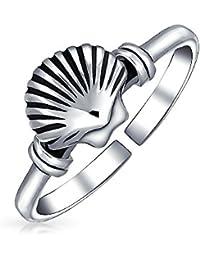 Nautical Clam Shell Midi Ring 925 Silver Seashell Toe Rings