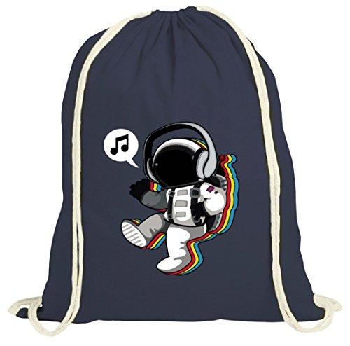 Musik natur Turnbeutel mit Groovy Astronaut Motiv von ShirtStreet dunkelblau natur