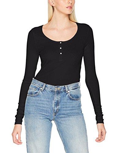VERO MODA Damen Langarmshirt Vmgaby Gaia LS Placket Shirt Noos, Schwarz (Black Black), 36 (Herstellergröße: S)