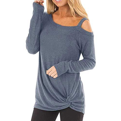 Haughtily Frauen Unregelmäßige Twist Geknotete Langarm Tunika Tops Einfarbig Kalte Schulter Beiläufige Lose Pullover T-Shirt -