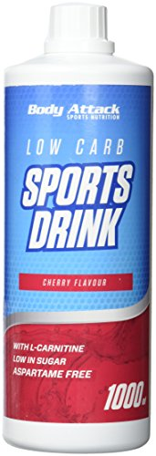 Body Attack Low Carb Sports Drink, Cherry/Kirsche, 1er Pack, (1x 1000ml)