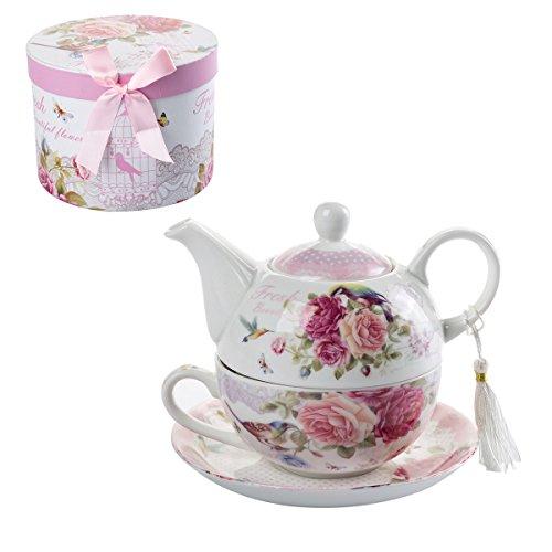 Teekanne-, Tasse- und Untertasse-Set für eine Person im Vintage-Stil, mit Rosen- und Lavendel-Muster, Porzellan, in Geschenkbox 15x15cm Bird Rose Butterfly