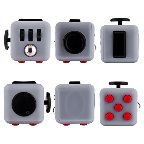 Fidget Cube Relieves Stress And Anxiety for Children and Adults Anxiety Attention Toy (Gray Red)