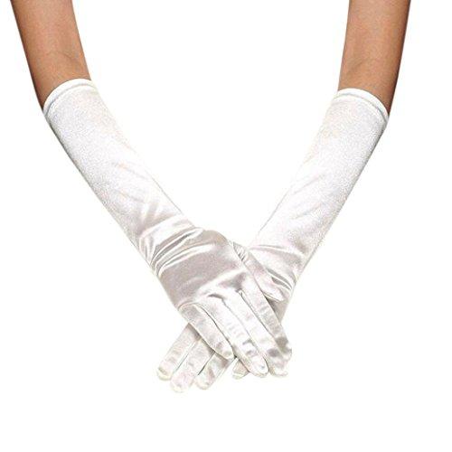 JIANGFU Womens Satin lange Handschuhe Oper Hochzeit Braut Abend Party Prom Handschuhe, Brauthandschuhe Hochzeitskleid Handschuhe zeigen Bankett Spaß Handschuhe multicolor (White) (Handschuhe Lang Abend)